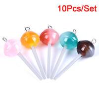 10Pcs/Set Resin Transparent Lollipop Charms Pendant Jewelry DIY Making CraftS Fy
