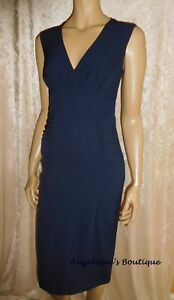 MONSOON CLASSIC NAVY BLUE RUCHED SIDES FITTED SMART DRESS SIZE 8-18 NEW - SALE