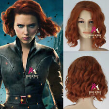 Avengers Natasha Romanoff Black Widow Short Curly Auburn Cosplay Wig
