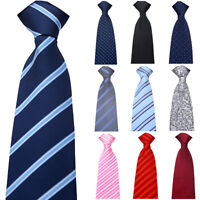 Men Formal 8cm Wide Zipper Necktie Wedding Party Striped Floral Pre-tied Tie