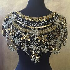 Sequin Beaded Lace Hip Wrap Collar Shoulder Shrug Shawl Applique Silver & Gold
