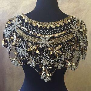 Sequin Beaded Lace Hip Wrap Collar Shoulder Shrug Shawl Applique Silver & Gold