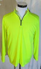 Starter Mens 1/4 Zip Shirt Neon Yellow M Crewneck Dri-star Long Sleeve Xa