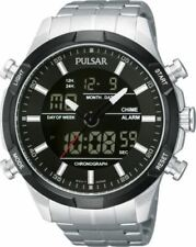 Pulsar Gents Analog & Digital Stainless Steel Chronograph Bracelet Watch PW6 003