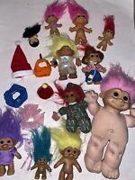 Vtg RUSS & Others HUGE TROLLS Mixed Random LOT Accessories Hats Figures Dolls