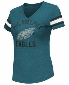 G-III 4her Philadelphia Eagles Women's Wildcard V-Neck T-Shirt - Marine Green