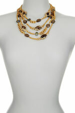 Alexis Bittar Gold Multi Strand Multi Stone Chain Link Necklace.***NEW***$595***