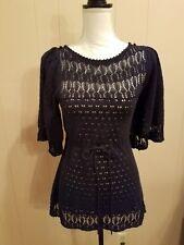 Anthropologie Moth Womens S Navy Blue Open Weave Crochet Bell Sleeves Boho EUC