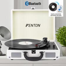 USB Vinyl Turntable Deck Record Player Speakers Bluetooth Retro Briefcase White