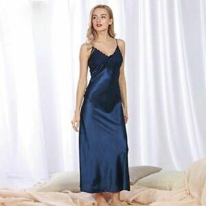 Women Satin Lace Sleepwear Full Slip Long Dress V-Neck Slim Loungewear Nightwear