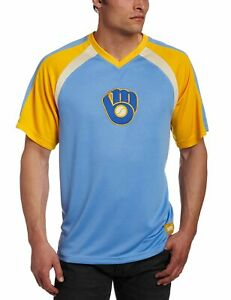 Milwaukee Brewers Fireballer V-Neck Synthetic Raglan Shirt, Medium