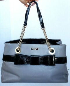 Kate Spade Gray Black Patent Leather Bow Accent Chainlink Handles Handbag Tote