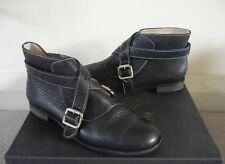 F troupe Bottes Bottines Chaussures Bride à Boucle Topshop cuir noir UK 5/5.5 très bon état
