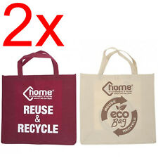 2 X RECYCLE ECO WATERPROOF NON WOVEN BAGS SHOPPING HEAVY DUTY TOTE CARRY BAG