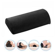 Home Memory Foam Half Moon Bolster Pillow for knees, hips, back and neck Black