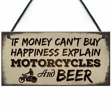 Beer Motorcycle Enthusiast Motorbike Man Cave Signs Garage Him Dad Grandad Gifts