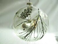 "Hand Painted Glass Xmas Ornament 5"" Clear Ball Mercury Glass Bird hangs inside"