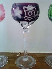 "Ajka Marsala Nachtmann Amethyst purple hock glass in 'Traube' pattern 8 1/8""."