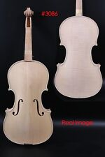 Master White Unfinished Violin 4/4 Tiger Flame Maple Spruce Handmade #3086