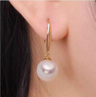BEAUTIFUL 9-10MM AAA PERFECT WHITE SOUTH SEA PEARL EARRINGS 14K GOLD Hook