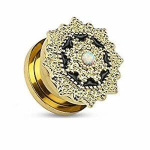 Opal 14Kt. Gold Plated Tribal Shield Top Screw Fit Flesh Tunnel Plug