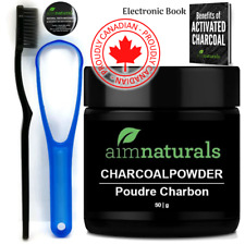 aimnaturals Best Canadian Natural Teeth Whitening Activated Charcoal Powder Kit