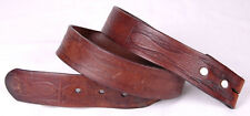 Vtg Leather Belt-Hand Tooled-Western-Brown-Stam ped-Distressed-Handmade