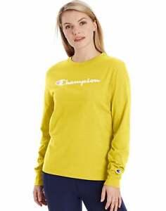 Champion Women's Long-Sleeve Tee T-Shirt Athletics Classic Script Logo Ringspun