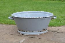 56.5 cm - old enamelled enamel washing bowl shabby bath chic - FREE POSTAGE
