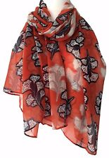 Orange Scarf Navy Floral Print Ladies Burnt Orange Grey Shawl Blue Flower Sarong