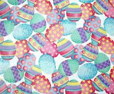 Fabric Traditions Glittery  Decorated Easter Eggs Cotton Fabric Piece
