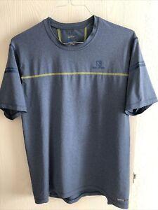 Mens Large Ultra Running Run Shirt Salomon Advanced Skin Active Dry Blue EUC