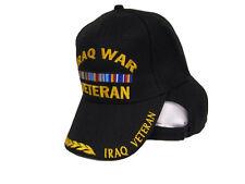 Iraq WAR Veteran VET Black and Yellow Baseball Embroidered Hat Ball Cap