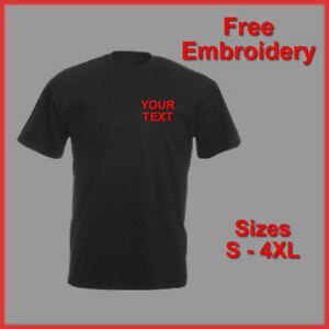 PERSONALISED BUSINESS WORKWEAR TEXT EMBROIDERED T SHIRT BLACK NAVY HEATHER GREY