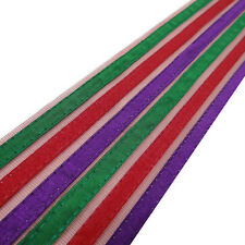 Multicolor Fabric Trim Net Base Stripe Style Border Lace Sewing Craft 1 Yard