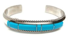 Navajo Blue Turquoise Inlay Sterling Silver Cuff Bracelet - Fran Yazzie