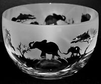 ELEPHANT Frieze 12cm Boxed Crystal Glass Bowl