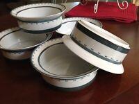 """Dansk GRIDWORKS DINNERWARE GREEN Rimmed Cereal Bowl 6.75"""""""