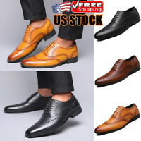 Mens Leather Shoes Casual Lace-up Oxfords Business Party Formal Dress Shoes Size