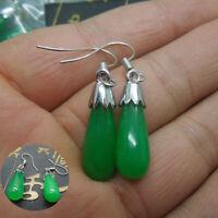A Pair Teardrop Green Jade 925 Silver Dangle Earrings Hook Women