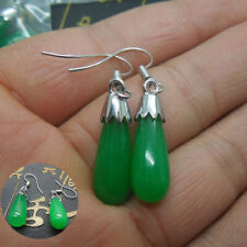 A Pair Teardrop Green Jade 925 Silver Dangle Earrings Hook Women