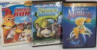 Animation DVD Bundle The Little Mermaid Chicken Run Shrek