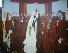 CHURCH GARDEN WEDDING BRIDE GROOM BREAKFAST AT TIFFANY'S NEW YORK NY PAINTING