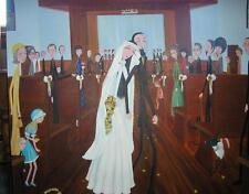 SPRING SUMMER CHURCH GARDEN WEDDING BRIDE GROOM NEW YORK CITY NY ART PAINTING
