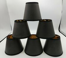 "Black/Gold Interior Clip On Chandelier Shade Set (6) 4"" Tall"