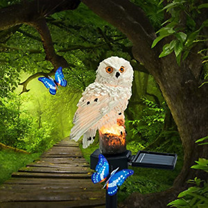 Solar Lights Outdoor Garden Ornaments Animals Resin Owls Christmas Holiday Gifts