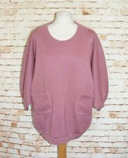 plus size 18-20 vintage 80s jumper balloon batwing 3/4 sleeve sparkly pink knit