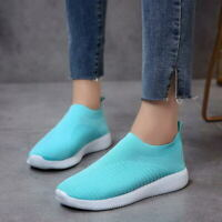 Womens Knitting Breathable Casual Shoes Summer Sneaker Slip On Mesh Sport Shoes