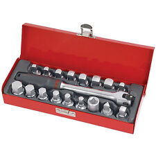 Professional 19 Piece Oil Drain Sump Plug Sockets Set in Metal Box Garage Tool