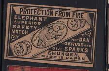 Ancienne   étiquette Allumettes Japon   AAA12900    Eléphant 8